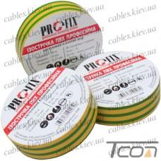 Изолента 0,13мм х 15мм, 20м, жёлто-зелёная, ProFix