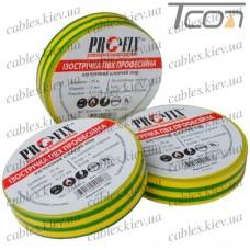 Изолента  электротехническая 0,18мм х 15мм, 20м жёлто-зелёная, Profix
