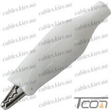 Зажим тестерный малый, длина 44мм, белый, Tcom