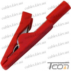 Зажим под щуп тестерный длина 40мм, пластиковый, красный, Tcom