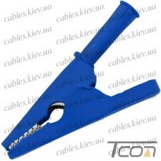 Зажим под щуп тестерный длина 80мм, пластиковый, синий, Tcom
