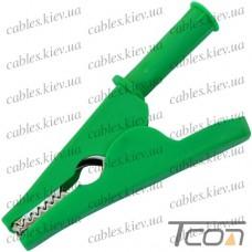 Зажим под щуп тестерный длина 80мм, пластиковый, зелёный, Tcom