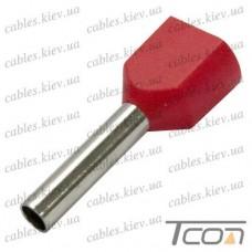 Кабельный наконечник трубчатый с изоляцией двойной 2х1,0кв.мм (100шт.) (ТЕ-1010), Tcom