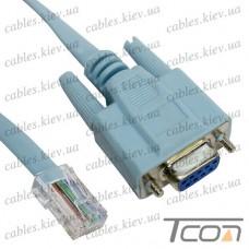 Консольный кабель, штекер RJ45- гнездо DB9pin, 2м, Tcom