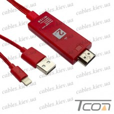 HDTV Шнур 2К (штекер iPhone linghting - штекер HDMI+ штекер USB), 2м+1.2м, в коробке, Tcom