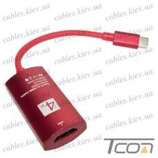 HDTV Переходник 4К (штекер USB type C - гнездо HDMI), с кабелем 15см, в коробке, Tcom