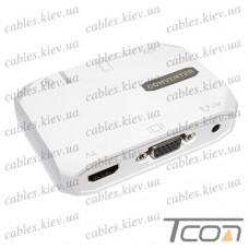 Конвертер HDTV 3в1 (гнездо USB А+гнездо 3,5st.- гнездо HDMI+гнездо VGA+гнездо AV 3,5st), в коробке, Tcom