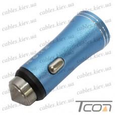 Автомобильная зарядка 2-а гнезда USB, 1A+2.1А, металлический, синяя, в блистере, Tcom