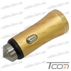 Автомобильная зарядка 2-а гнезда USB, 1A+2.1А, металлический, золотистая, в блистере, Tcom