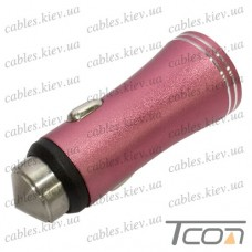 Автомобильная зарядка 2-а гнезда USB, 1A+2.1А, металлический, красная, в блистере, Tcom