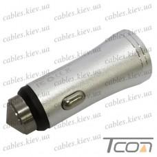 Автомобильная зарядка 2-а гнезда USB, 1A+2.1А, металлический, серебристая, в блистере, Tcom