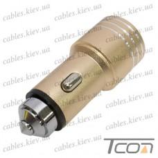 Автомобильная зарядка 2-а гнезда USB, 1A+2.1А, металлический, в коробке, Tcom