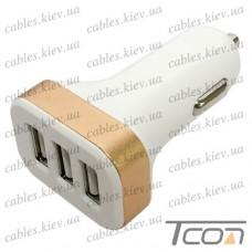 Автомобильная зарядка 3 гнезда USB 2.1А, пластик, бело-золотистая, Tcom