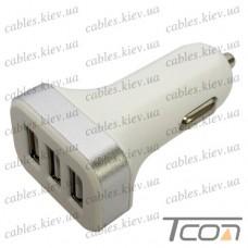 Автомобильная зарядка 3 гнезда USB 2.1А, пластик, бело-серебристая, Tcom