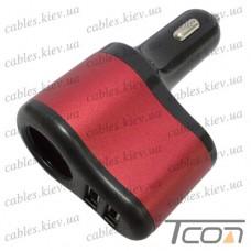 Автомобильная зарядка гнездо прикуривателя + 2-а гнезда USB 3.1А, цветная, Tcom