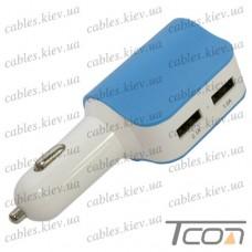 Автомобильная зарядка гнездо прикуривателя + 2-а гнезда USB 2.1А+1A, синяя, Tcom