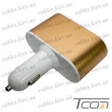 Автомобильная зарядка 2-а гнезда прикуривателя+ 2-а гнезда USB 2.1А, золотистая, Tcom
