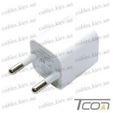 Сетевая зарядка 220V, с USB выходом, 1A, белая, Tcom
