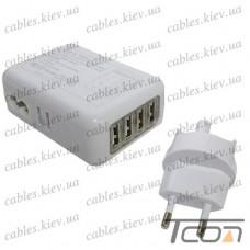 Сетевая зарядка на 4 гнезда USВ, (AC 220V/ DC 5V 2.1A), белая, Tcom