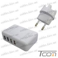 Сетевая зарядка на 4 гнезда USВ, (AC 220V/ DC 5V 6A), белая, Tcom