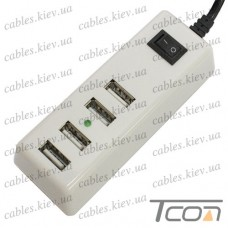 Сетевая зарядка на 4 гнезда USВ, (AC 220V/ DC 5V 4.2A), c кабелем 1.5м, белая, Tcom