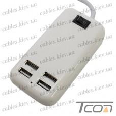 Сетевая зарядка на 4 гнезда USВ, (AC 220V/ DC 5V 3A), c кабелем 1.5м, белая, Tcom