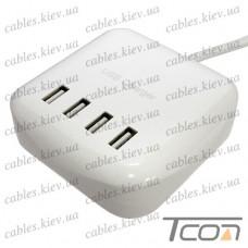 Сетевая зарядка на 4 гнезда USВ, (AC 220V/ DC 5V 2х2.4A+2x1A), c кабелем 1.5м, Tcom