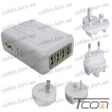Сетевая зарядка на 4 гнезда USВ с адаптерами EU/ US/ UK/ AU, (AC 220V/ DC 5V 2.1A), белая, Tcom