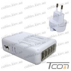 Сетевая зарядка на 5 гнезд USВ, (AC 220V/ DC 5V 4.1A), белая, Tcom