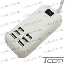 Сетевая зарядка на 6 гнезд USВ, (AC 220V/ DC 5V 3A, 20W), c кабелем 1.5м, белая, Tcom