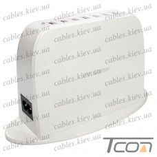 Сетевая зарядка на 7 гнезд USВ, (AC 220V/ DC 5V 2.4A+2.1A+5x1A), c кабелем 1.5м, Tcom