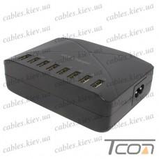 Сетевая зарядка на 8 гнезд USВ, (AC 220V/ DC 5V 2x2.4A+6x1A), c кабелем 1.5м, Tcom