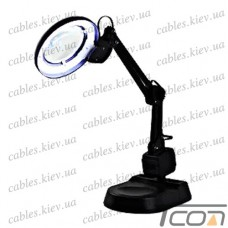 Лупа-лампа настольная YIHUA-238, люминисцентная подсветка 11W, диам.-90мм, 220V