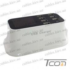 Сетевая зарядка на 8 гнезд USВ c дисплеем, (AC 220V/ DC 5V 8A), на подставке, c кабелем 1,5м, Tcom