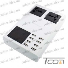 Сетевая зарядка на 8 гнезд USВ c дисплеем, (AC 220V/ DC 5V 8.2A), на подставке, c кабелем 1,5м, Tcom