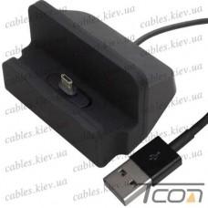 Док станция для зарядки micro USB, с шнуром USB, чёрная, Tcom